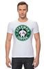 """Футболка Стрэйч """"Starman Coffee """" - пародия, кофе, starbucks, старбакс, starman"""