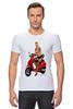 """Футболка Стрэйч (Мужская) """"Девушка на мотоцикле"""" - девушка, эротика, блондинка, мотоцикл"""