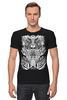 "Футболка Стрэйч ""Tribal"" - skull, череп, tribal, black n white"