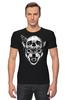 """Футболка Стрэйч (Мужская) """"Wolf & Skull"""" - skull, череп, волк, wolf"""