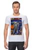 """Футболка Стрэйч (Мужская) """"Bad Robot"""" - red, винтаж, robot, робот, иллюстрация, blue, vintage, журнал, обложка"""