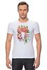 """Футболка Стрэйч (Мужская) """"Flower skull"""" - skull, череп, цветы, листья"""