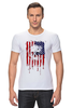 "Футболка Стрэйч ""Американский череп"" - skull, череп, америка, usa, флаг"
