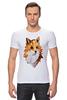 """Футболка Стрэйч (Мужская) """"Poly Fox"""" - fox, лиса, полигоны"""