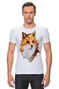 """Футболка Стрэйч (Мужская) """"Poly Fox"""" - fox, лиса, лисица, полигоны"""