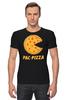 "Футболка Стрэйч (Мужская) ""Пак-Пицца"" - еда, игры, pac-man, пицца, пакмен"