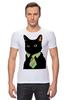 """Футболка Стрэйч (Мужская) """"Деловой кот"""" - кот, мем, cat, mem, black cat, деловой кот, business cat, suit n tie"""