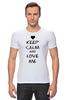 """Футболка Стрэйч (Мужская) """"Love Me"""" - сердце, любовь, 14 февраля, влюбленные, keep calm"""