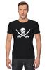 """Футболка Стрэйч (Мужская) """"Веселый Роджер."""" - череп, jolly roger, пират, веселый роджер, pirates, пираты карибского моря, пиратский флаг"""