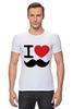 """Футболка Стрэйч """"I love усы"""" - swag, усы, mustache, лов, i love mustache"""