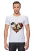 """Футболка Стрэйч """"Любить друг друга вечно"""" - сердце, цветы, черепа, акварель"""