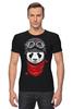 "Футболка Стрэйч (Мужская) ""Панда (Panda)"" - панда, panda, пилот"