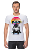 "Футболка Стрэйч (Мужская) ""Солнечный Мопс"" - pug, солнце, собака, мопс"