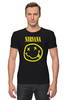 "Футболка Стрэйч (Мужская) ""Nirvana"" - nirvana, рок, kurt cobain, курт кобейн, нирвана"
