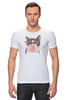 """Футболка Стрэйч (Мужская) """"Забавная кошка"""" - модно, кошки, casual, bubble gum"""