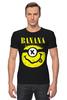 """Футболка Стрэйч (Мужская) """"Миньон (Banana)"""" - nirvana, пародия, нирвана, minion, банана"""