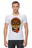 "Футболка Стрэйч ""PSYSCULL"" - череп, scull, оранжевый, orange, психоделика, оранж"