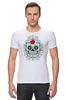 """Футболка Стрэйч (Мужская) """"Цветочный череп"""" - skull, череп, арт, цветы"""