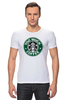 "Футболка Стрэйч (Мужская) ""Too Much Coffee"" - пародия, starbucks, старбакс, слишком много кофе"