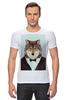 """Футболка Стрэйч """"Деловой волк"""" - бабочка, смокинг, волк, wolf, деловой"""