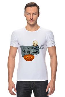 """Футболка Стрэйч """"Хэллоуин"""" - череп, хэллоуин, тыква"""