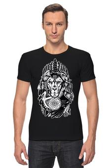 "Футболка Стрэйч (Мужская) ""The Lion"" - арт, king, лев, индейцы"