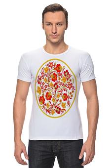"""Футболка Стрэйч """"Вариант орнамента """"Хохлома""""№3,на белом фоне"""" - арт, футболка, цветы, стиль, мужская, рисунок, в подарок, оригинально, футболка мужская, парню"""