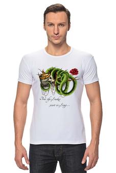 "Футболка Стрэйч ""And The Snakes Start To Sing"" - череп, арт, змея, rose, роза, snake"