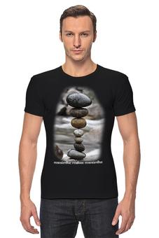 """Футболка Стрэйч """"Каменные пирамидки. Спокойствие... #3"""" - арт, мультфильм, природа, этно, медитация"""