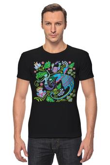 """Футболка Стрэйч """"Русалка и Дракон"""" - животные, дракон, растения, хохлома, русалка"""