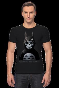 """Футболка Стрэйч """"Адекват не наш формат"""" - прикольные, оригинально, футболка мужская, креативно, футболка с черепом, футболка спринтом"""