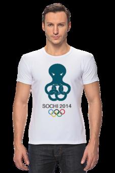 "Футболка Стрэйч (Мужская) ""Сочи 2014"" - олимпиада, сочи, sochi, olympics"