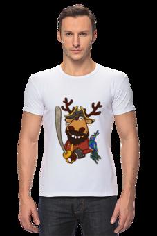 "Футболка Стрэйч (Мужская) """"Олень-пират"""" - футболка мужская, олень, пират, pirate, deer, подслушано"