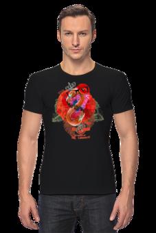 "Футболка Стрэйч (Мужская) ""It's UK"" - крылья, цветок, корона, красный, англия, коллаж, герб, винтаж, розовый, гламур"