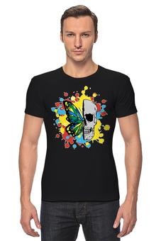 "Футболка Стрэйч ""Череп и бабочка"" - череп, бабочка, яркость, череп и бабочка"