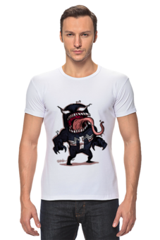 "Футболка Стрэйч (Мужская) ""I am venom"" - comics, games, venom, spiderman"