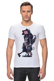 """Футболка Стрэйч (Мужская) """"Angry Bot"""" - арт, авторские майки, прикольные, оригинально"""
