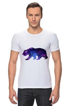 """Футболка Стрэйч """"Space animals"""" - space, bear, медведь, космос, астрономия"""