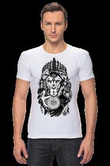 "Футболка Стрэйч ""The Lion"" - арт, царь, king, лев, в подарок, lion, animal, dream catcher, chief"