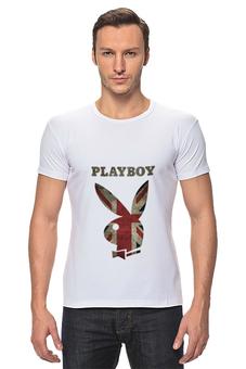 """Футболка Стрэйч (Мужская) """"Playboy Британский флаг"""" - playboy, плейбой, зайчик, великобритания, плэйбой"""