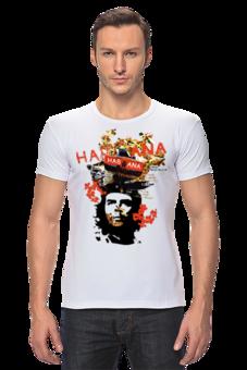 """Футболка Стрэйч (Мужская) """"Cuba Libre"""" - арт, коллаж, культ, футболка мужская, libre, че гевара, cuba, куба, лодка, гавана"""