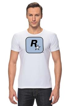 "Футболка Стрэйч ""Rockstar Light-Blue"" - мужская, футболка мужская, grand theft auto, gta, rockstar, рокстар, rockstar games"