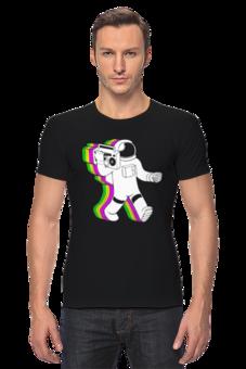 """Футболка Стрэйч (Мужская) """"Космонавт                 """" - клубная футболка, космонавт футболка"""