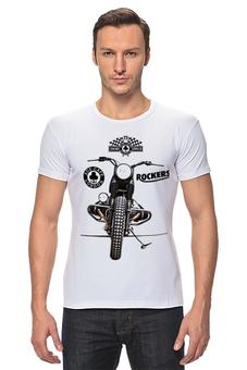 "Футболка Стрэйч ""Ace cafe rockers"" - мотоцикл, байк, caferacers, acecafe, rockers"