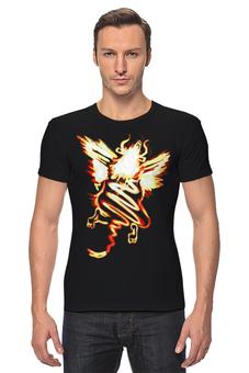 """Футболка Стрэйч """"Полет шмеля (оранж)"""" - прикол, полет, вверх, самосовершенство, рога и крылья"""