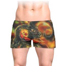 """Трусы мужские с полной запечаткой """"Dragon Fire"""" - змея, дракон, огонь"""