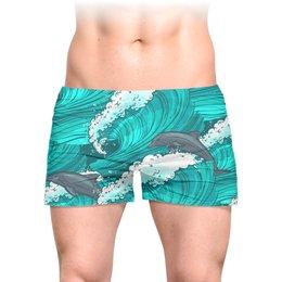 """Трусы мужские с полной запечаткой """"Дельфины"""" - лето, море, волна, рыба, дельфин"""