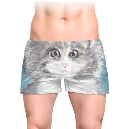 """Трусы мужские с полной запечаткой """"Взгляд кошки"""" - кот, кошка, взгляд, подарок, зверь"""