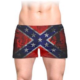 """Трусы мужские с полной запечаткой """"Флаг Конфедерации США"""" - война, америка, история, конфедерация, флаг конфедерации"""