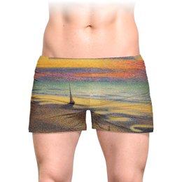 """Трусы мужские с полной запечаткой """"Пляж в Хейсте (Жорж Леммен)"""" - картина, пейзаж, живопись, жорж леммен, неоимпрессионизм"""
